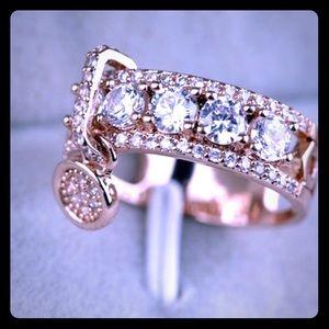 Beautiful White Sapphire dangle ring - rose gold